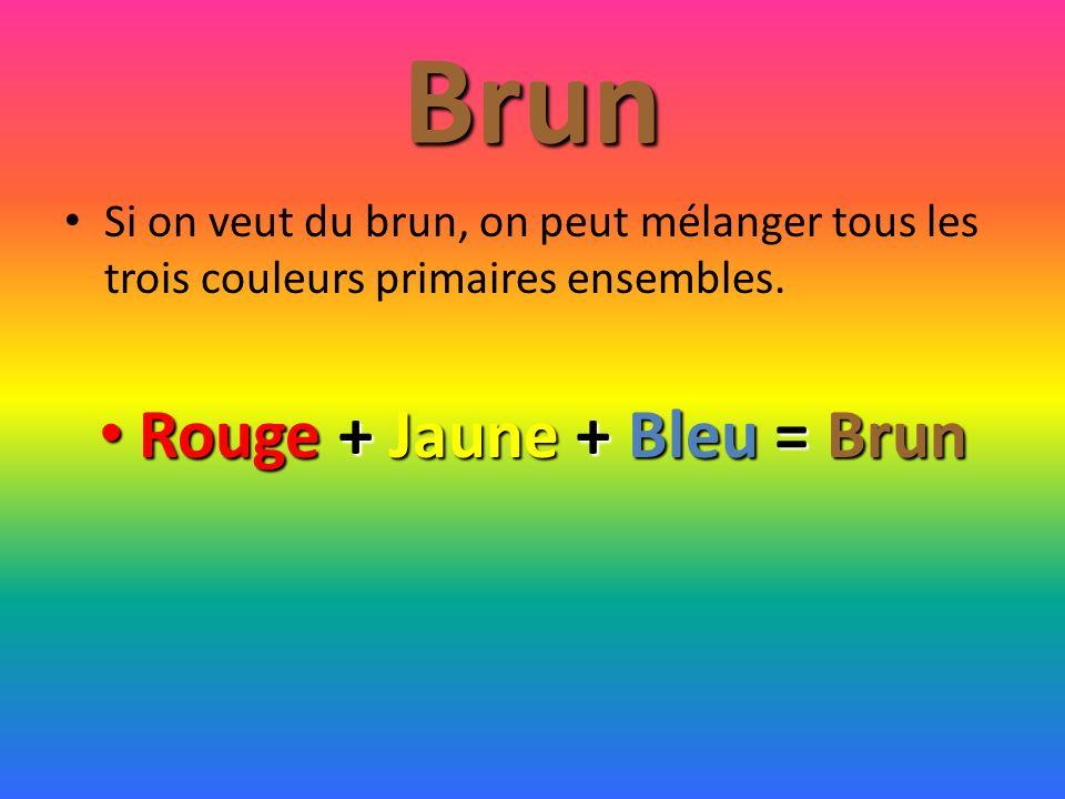 Rouge + Jaune + Bleu = Brun