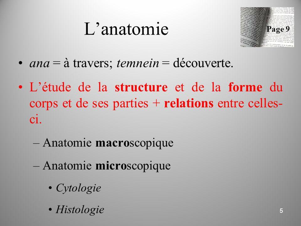 L'anatomie ana = à travers; temnein = découverte.