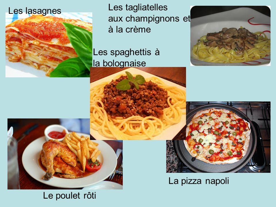 Les tagliatelles aux champignons et. à la crème. Les lasagnes. Les spaghettis à. la bolognaise.