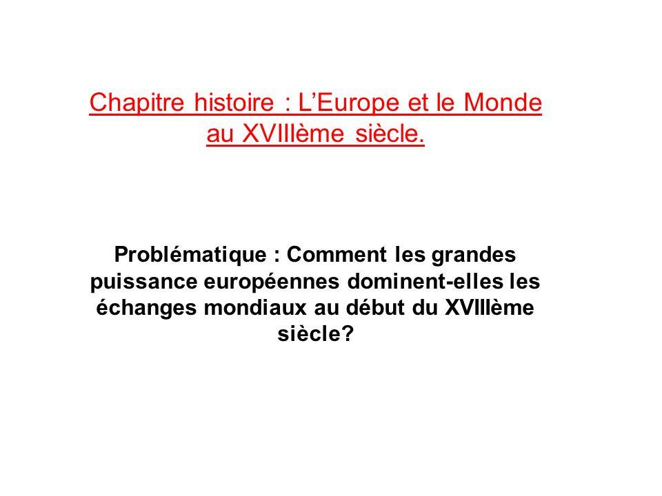 Chapitre histoire : L'Europe et le Monde au XVIIIème siècle.