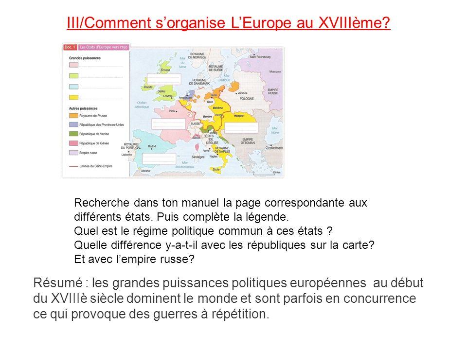 III/Comment s'organise L'Europe au XVIIIème