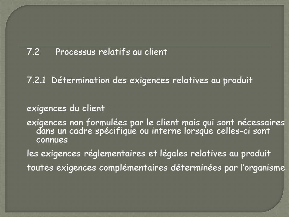 7. 2 Processus relatifs au client 7. 2