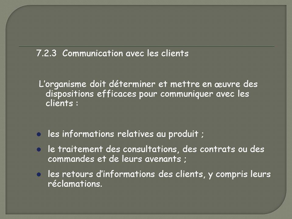 7.2.3 Communication avec les clients