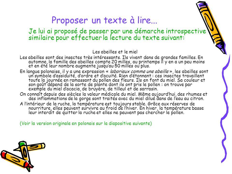 Proposer un texte à lire...