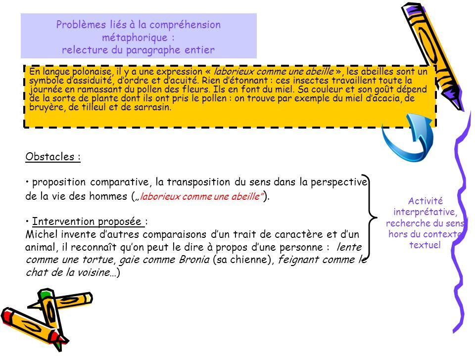 Activité interprétative, recherche du sens hors du contexte textuel