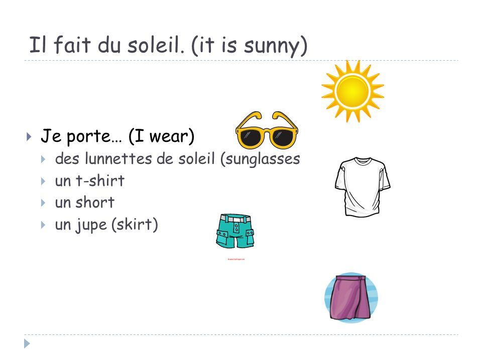 Il fait du soleil. (it is sunny)