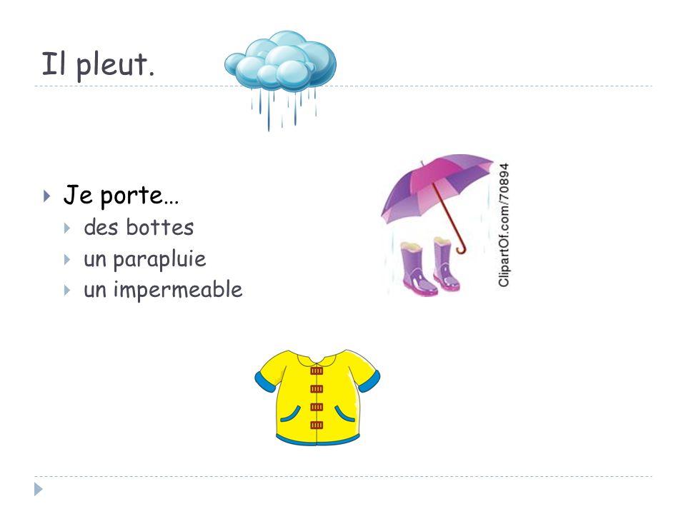 Il pleut. Je porte… des bottes un parapluie un impermeable