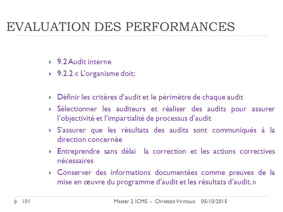 EVALUATION DES PERFORMANCES