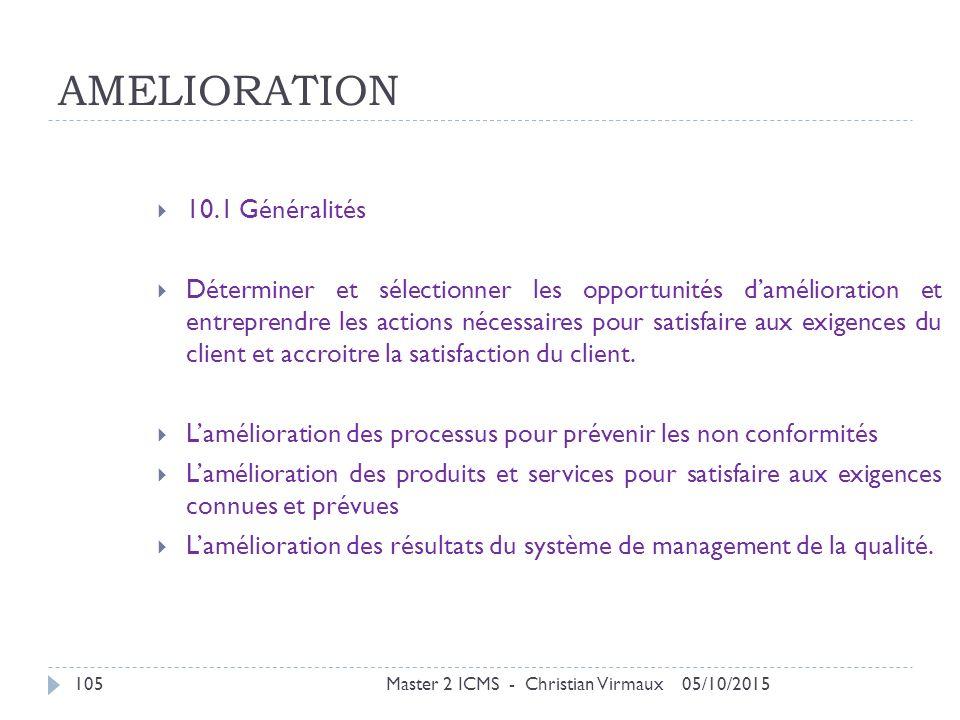 AMELIORATION 10.1 Généralités