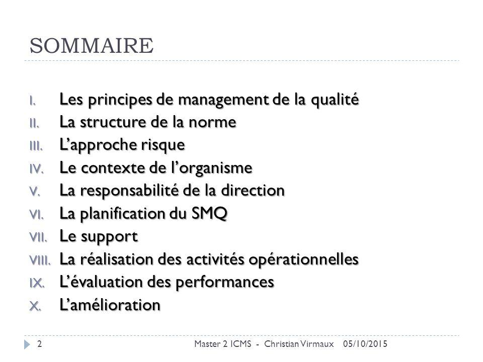 SOMMAIRE Les principes de management de la qualité