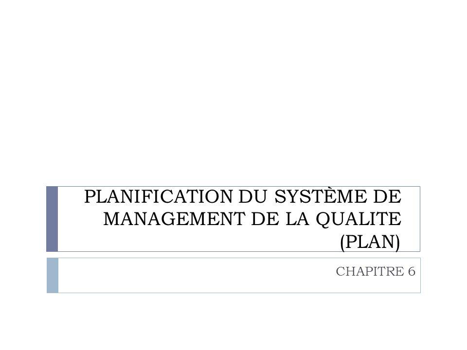 PLANIFICATION DU SYSTÈME DE MANAGEMENT DE LA QUALITE (PLAN)