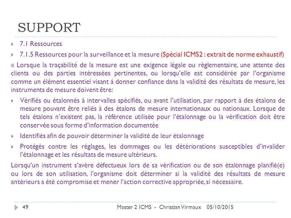 SUPPORT 7.1 Ressources. 7.1.5 Ressources pour la surveillance et la mesure (Spécial ICMS2 : extrait de norme exhaustif)