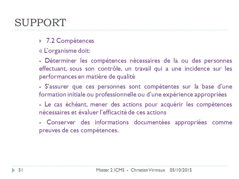 SUPPORT 7.2 Compétences « L'organisme doit: