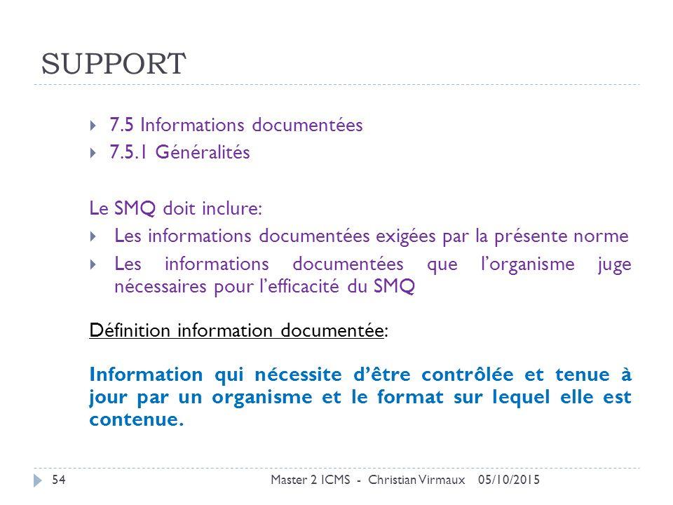 SUPPORT 7.5 Informations documentées 7.5.1 Généralités
