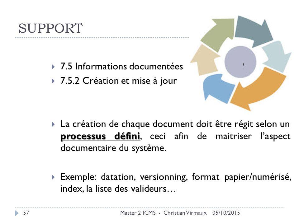 SUPPORT 7.5 Informations documentées 7.5.2 Création et mise à jour