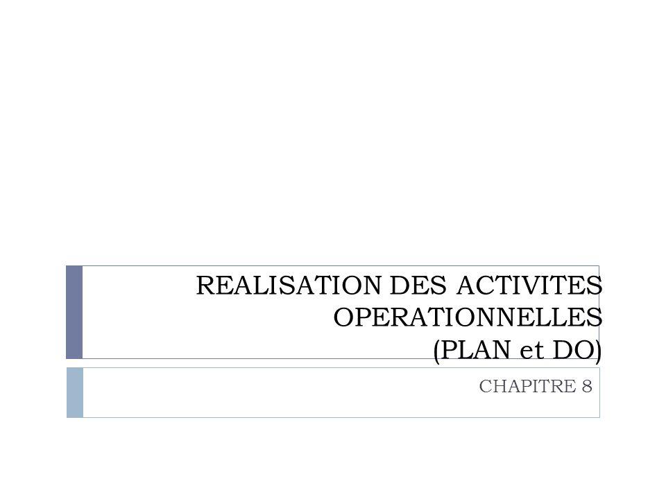 REALISATION DES ACTIVITES OPERATIONNELLES (PLAN et DO)