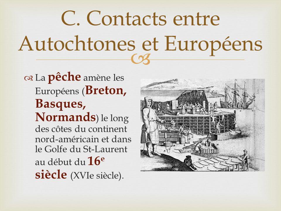C. Contacts entre Autochtones et Européens