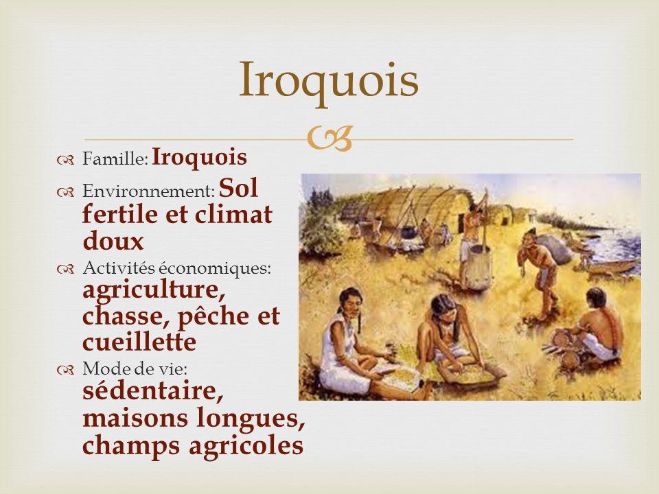 Iroquois Famille: Iroquois Environnement: Sol fertile et climat doux