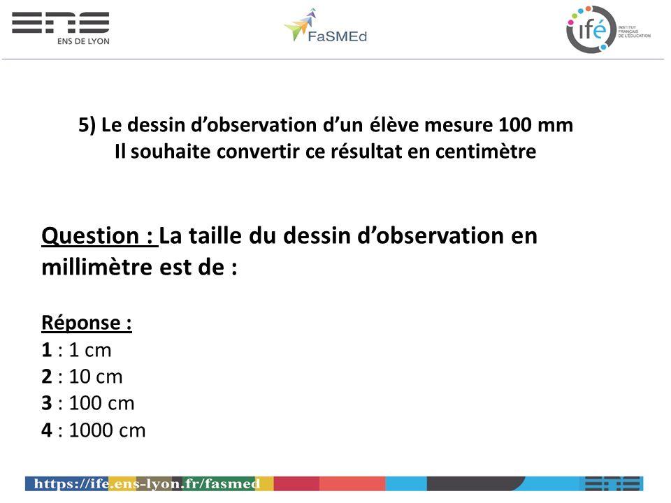 Question : La taille du dessin d'observation en millimètre est de :
