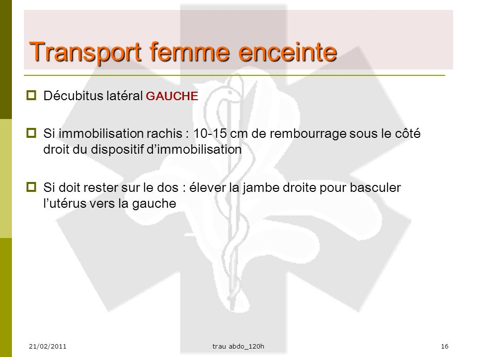 Transport femme enceinte