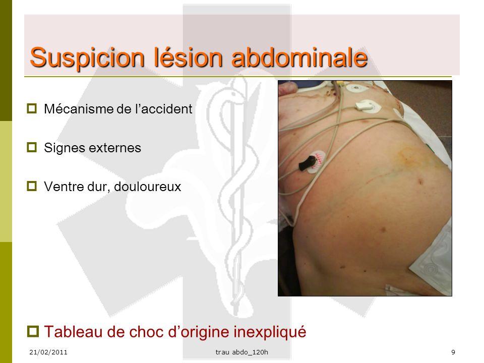 Suspicion lésion abdominale