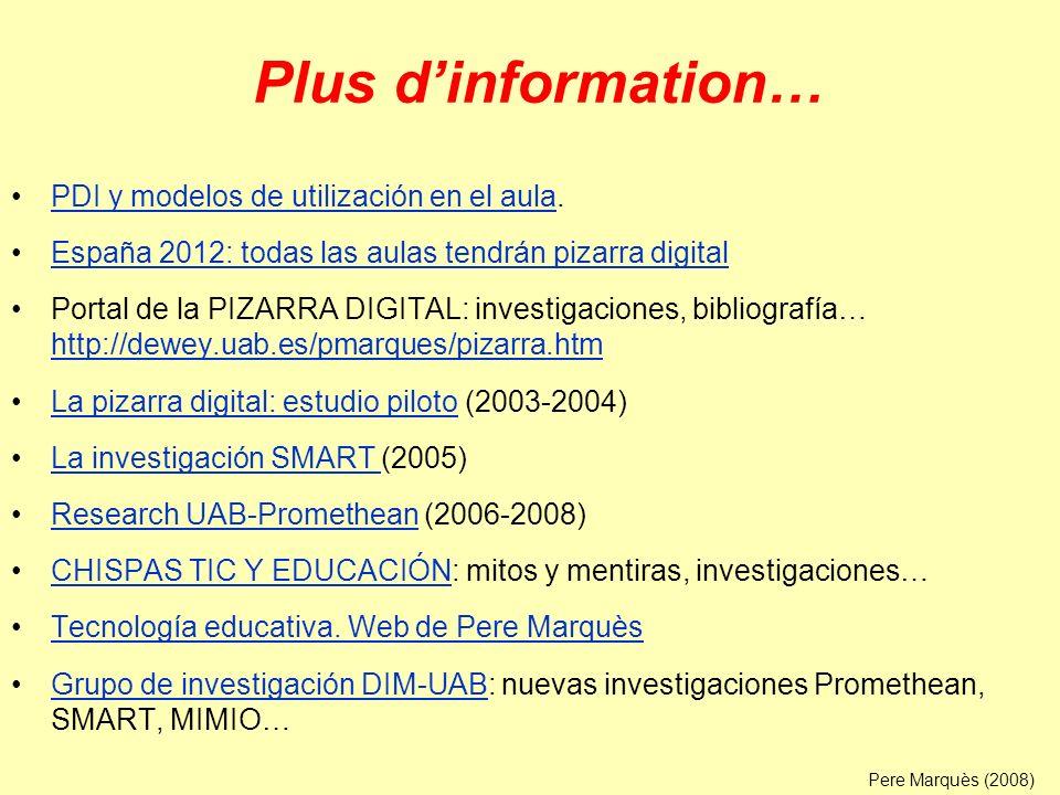 Plus d'information… PDI y modelos de utilización en el aula.