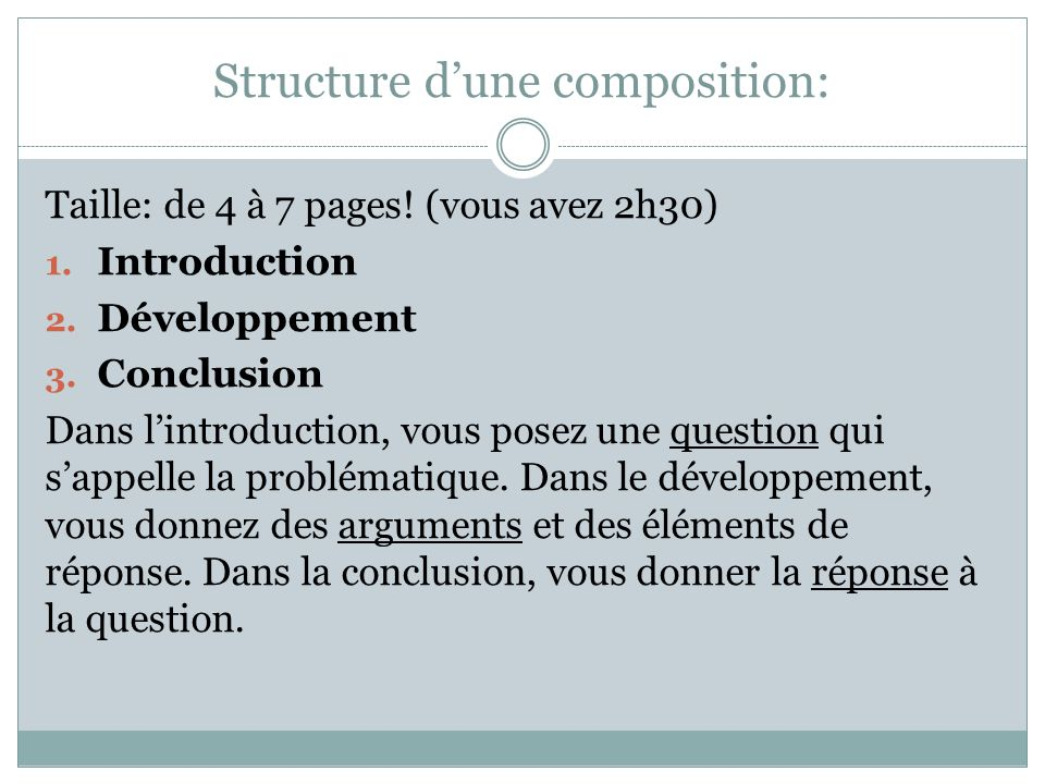 Structure d'une composition: