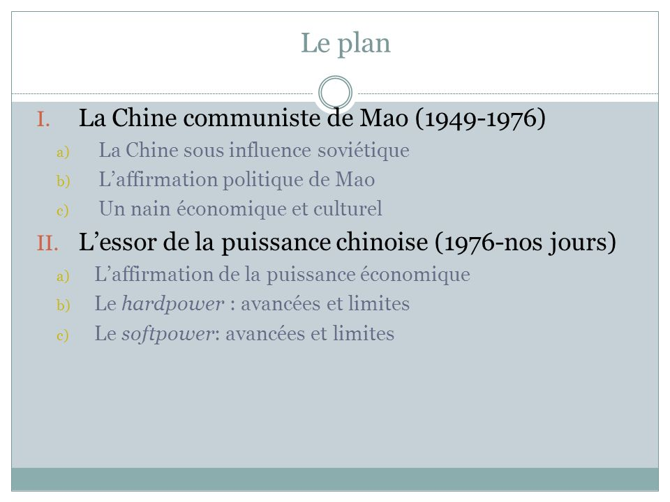 Le plan La Chine communiste de Mao (1949-1976)