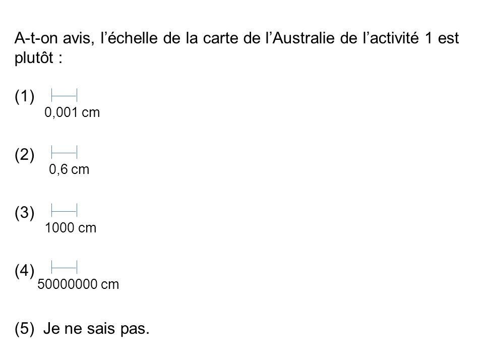 A-t-on avis, l'échelle de la carte de l'Australie de l'activité 1 est plutôt :