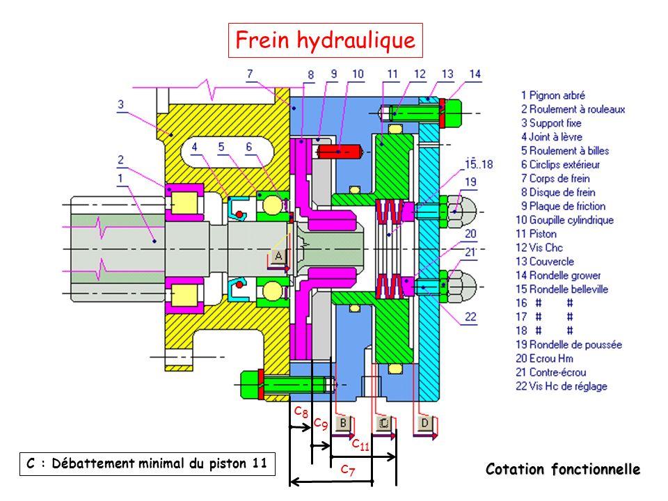 Frein hydraulique c8 c9 c11 C : Débattement minimal du piston 11 c7