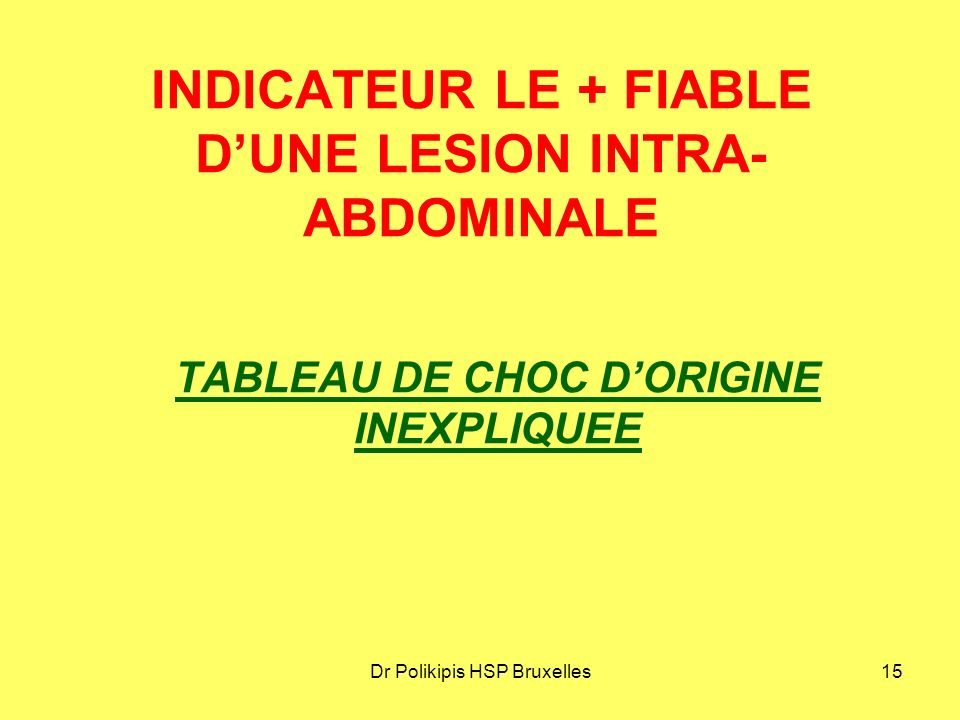 INDICATEUR LE + FIABLE D'UNE LESION INTRA-ABDOMINALE