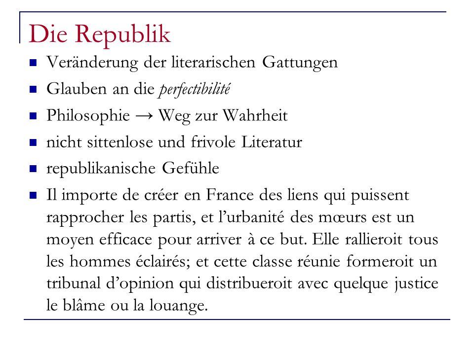 Die Republik Veränderung der literarischen Gattungen