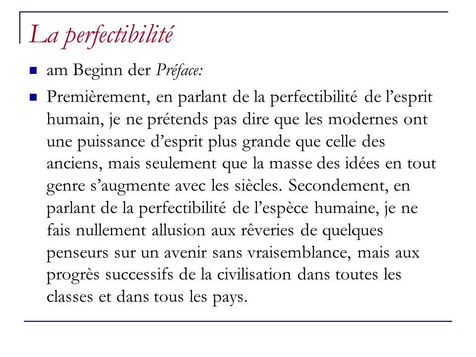 La perfectibilité am Beginn der Préface: