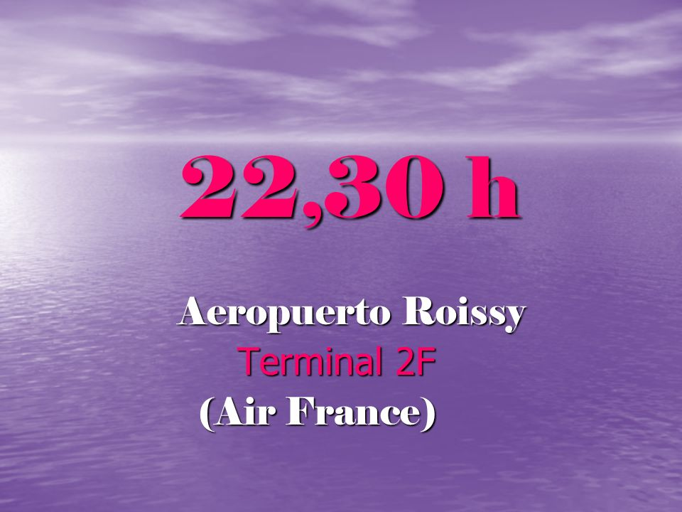 22,30 h Aeropuerto Roissy Terminal 2F (Air France)