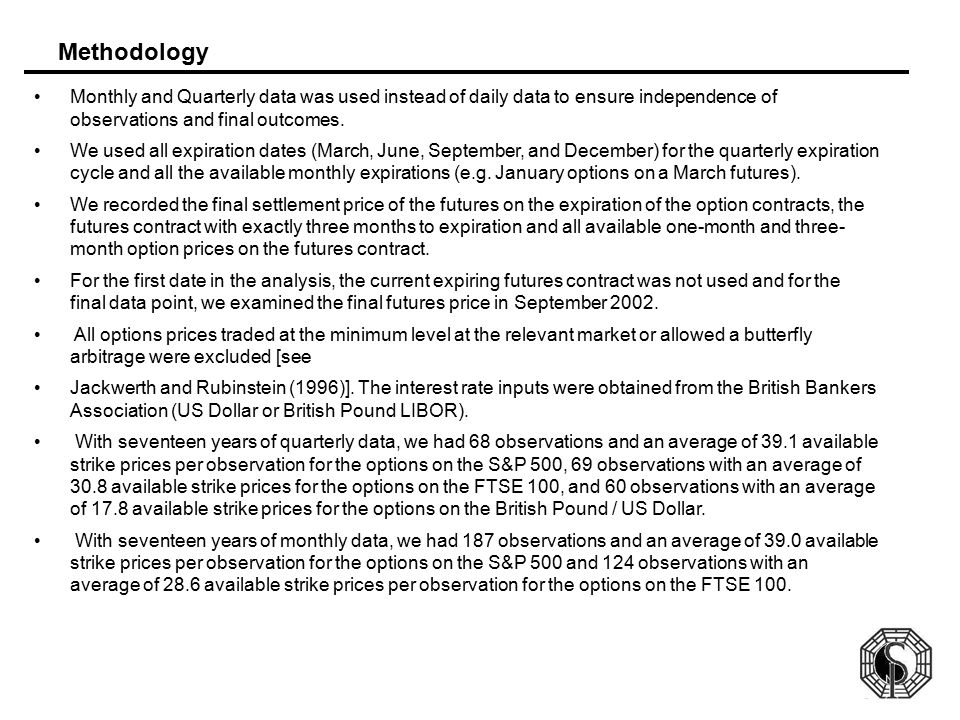Methodology Monthly and Quarterly data was used instead of daily data to ensure independence of observations and final outcomes.