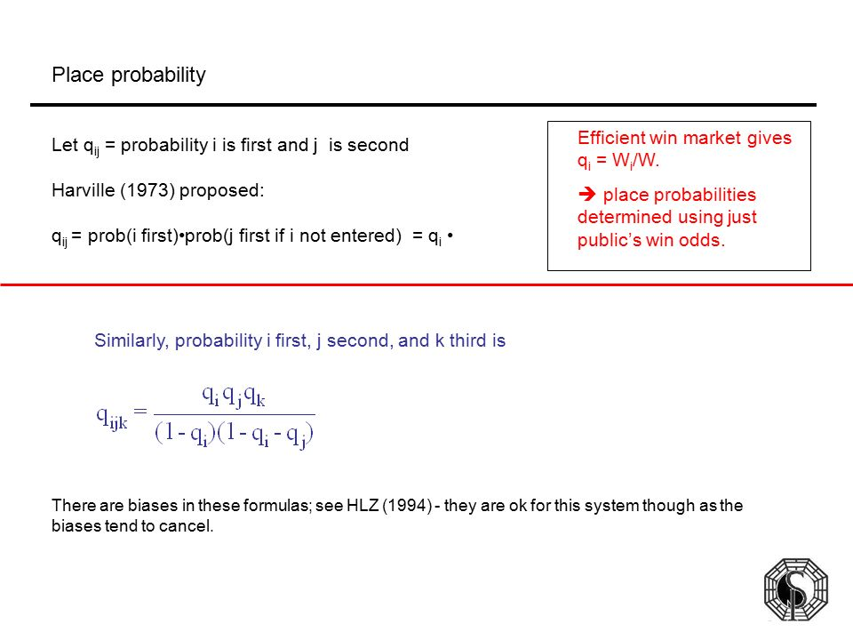 Place probability Efficient win market gives qi = Wi/W.
