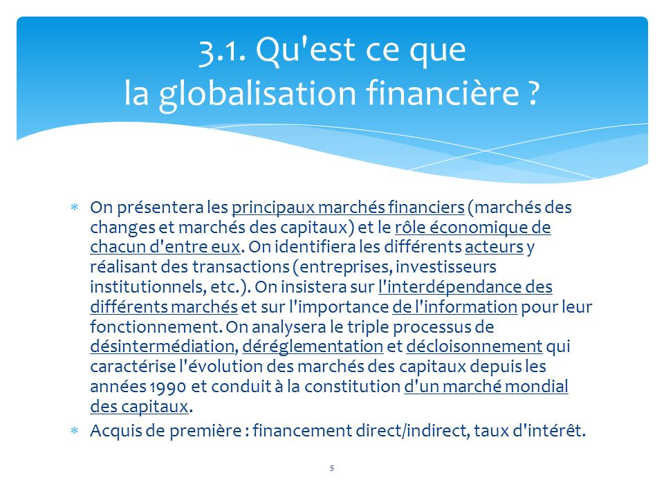 Dissertation globalisation financiere