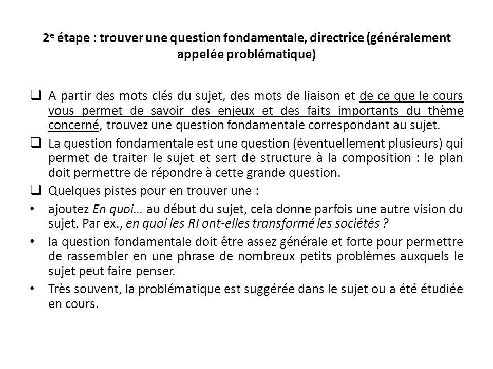 2e étape : trouver une question fondamentale, directrice (généralement appelée problématique)