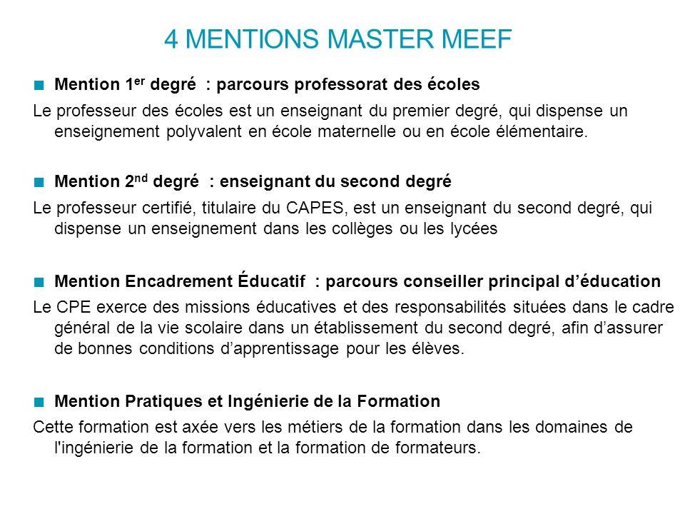 4 mentions master meef mention 1er degr u00e9   parcours professorat des  u00e9coles le professeur des