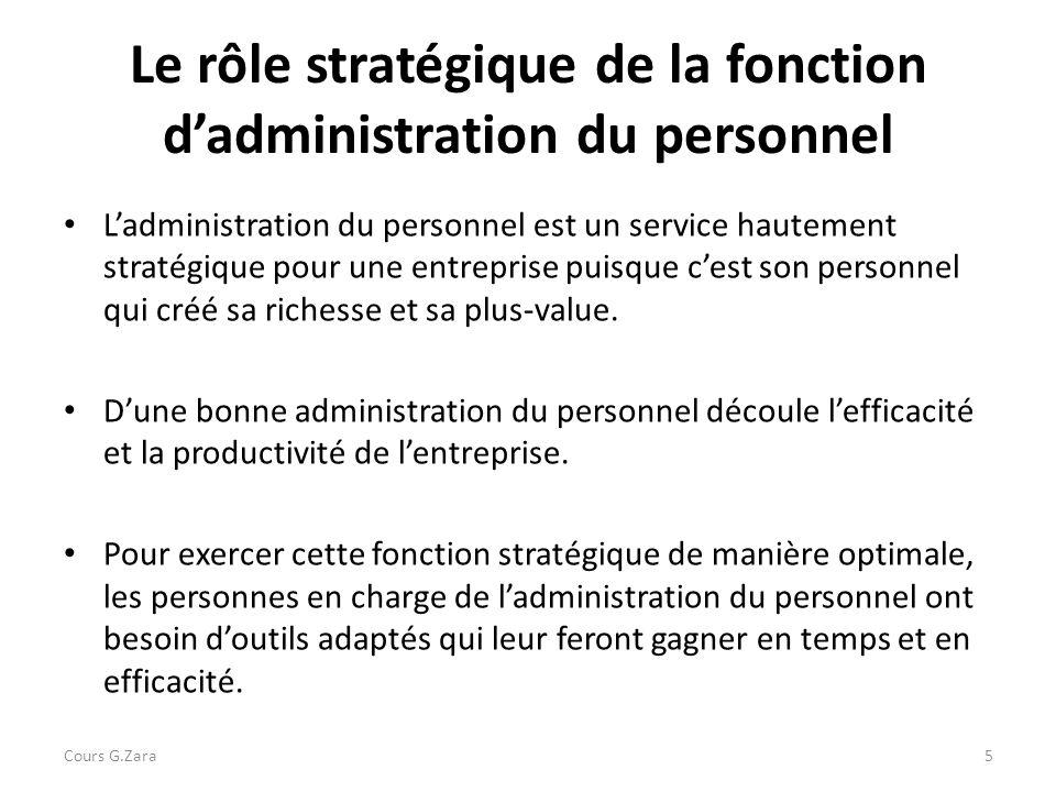 Le rôle stratégique de la fonction d'administration du personnel