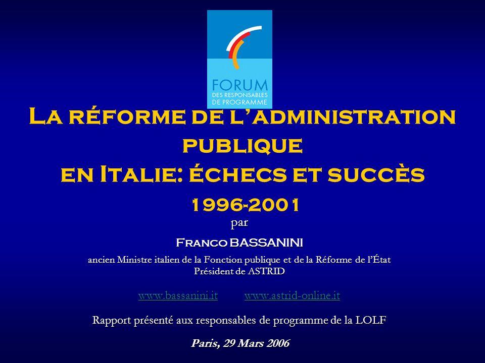 La réforme de l'administration publique en Italie: échecs et succès 1996-2001