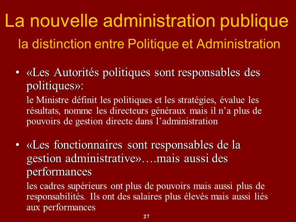 La nouvelle administration publique la distinction entre Politique et Administration