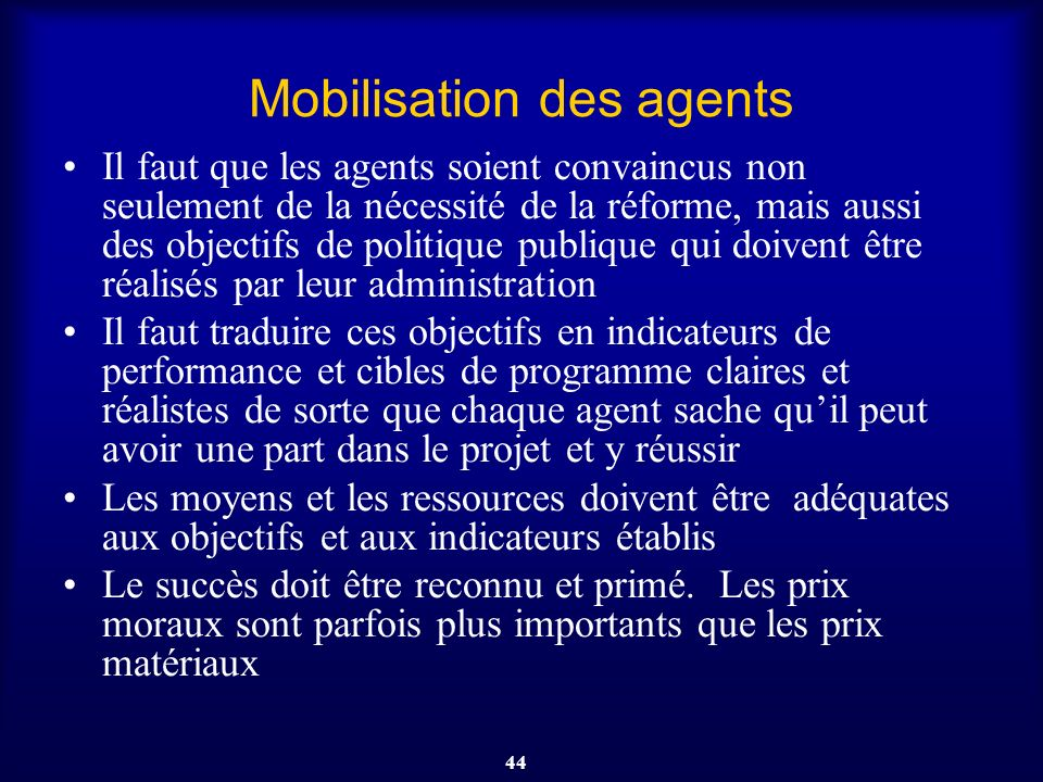 Mobilisation des agents
