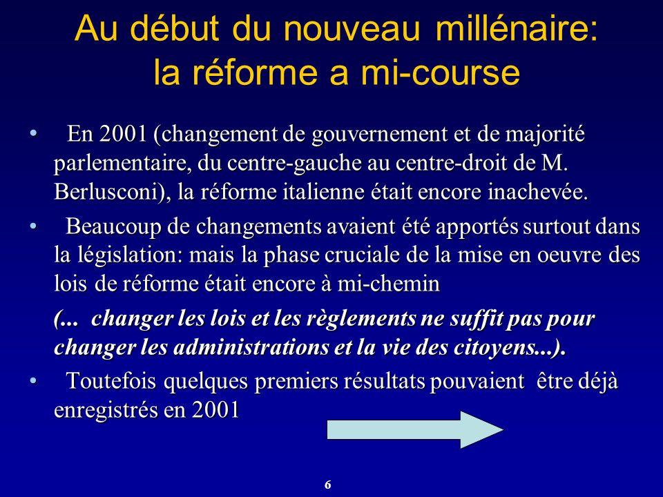 Au début du nouveau millénaire: la réforme a mi-course
