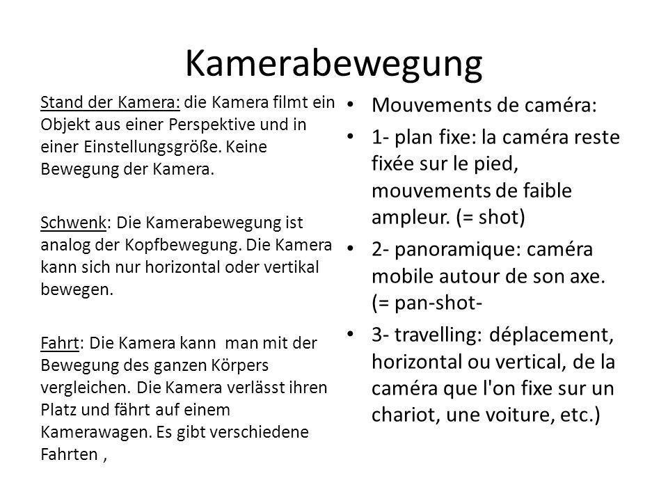 Kamerabewegung Mouvements de caméra:
