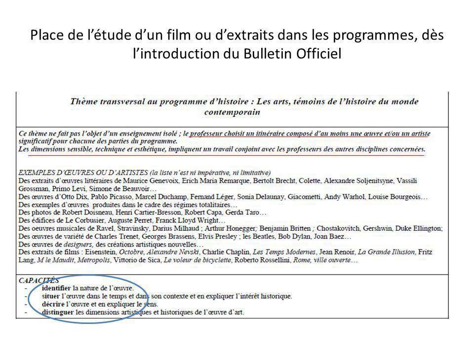Place de l'étude d'un film ou d'extraits dans les programmes, dès l'introduction du Bulletin Officiel
