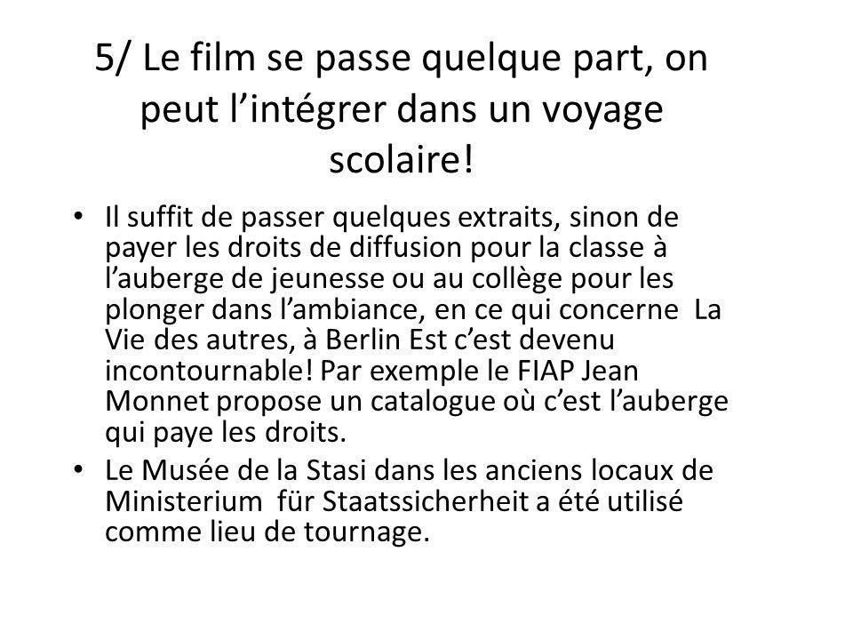 5/ Le film se passe quelque part, on peut l'intégrer dans un voyage scolaire!