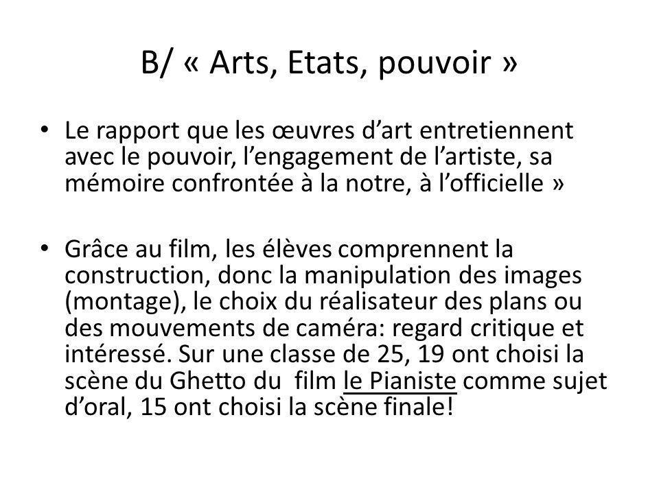 B/ « Arts, Etats, pouvoir »