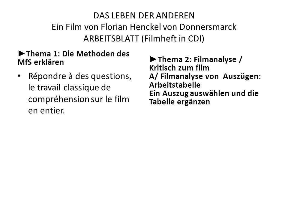 DAS LEBEN DER ANDEREN Ein Film von Florian Henckel von Donnersmarck ARBEITSBLATT (Filmheft in CDI)