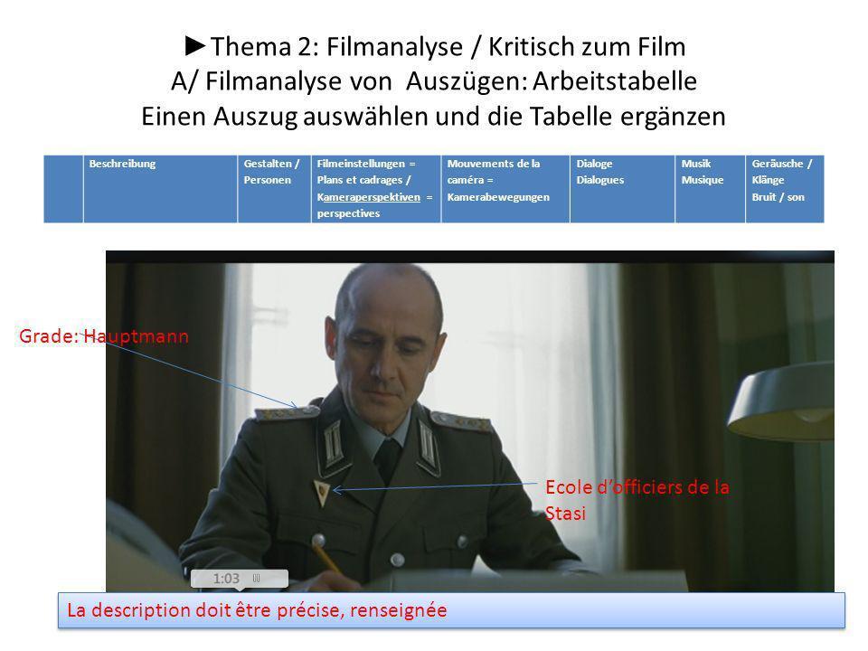 ►Thema 2: Filmanalyse / Kritisch zum Film A/ Filmanalyse von Auszügen: Arbeitstabelle Einen Auszug auswählen und die Tabelle ergänzen